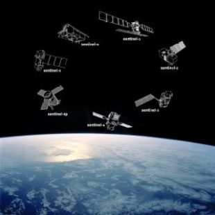 The Sentinel constellation family showing the outlines of Sentinel-1 to Sentinel-6 on a picture background of Earth's outer space region. Image: ESA