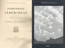 Two images showing the original front page of the International Cloud Atlas and one of the original photographic plates picturing mammato-cumulus clouds.