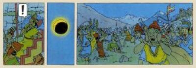 """An excerpt from comic book series """"The Adventures of Tintin"""", showing the surprise and terror caused by an eclipse to ancient Incas."""