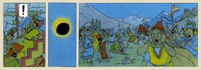 "An excerpt from comic book series ""The Adventures of Tintin"", showing the surprise and terror caused by an eclipse to ancient Incas."