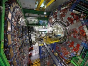 A photograph showing the inside workings of the CMS detector at CERN.
