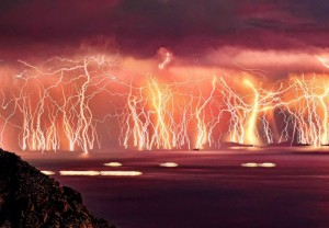 A photograph of the permanent lightning show at Catatumbo.