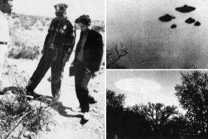 A collage of three grainy black and white photographs: 1) A police officer and another witness examining at an indistinct patch of ground in a desert landscape. 2) A shot of five UFOs flying in close formation. 3) A single bright large UFO hovering over some trees.