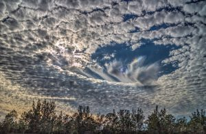 A photograph of an amazing fallstreak hole cloud.