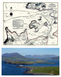 An ancient map and a photographic view of Valentia Island.