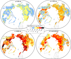 Geographical maps showing the mercury problem locations in the Northern hemisphere permafrost zones.