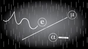 Examples of particle tracks inside a cloud chamber.