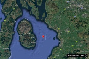 A screenshot map of the region of Ayrshire on the Southwest coast of Scotland, with the island of Arran in the Clyde River estuary. Screenshot: NaturPhilosophie