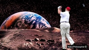 A pseudo-photograph showing a golfer, dressed in white and donning a red cap, (looking suspiciously like American President and property magnate Donald Trump) putting a shot on the Moon surface, with the Earth rising in the background.