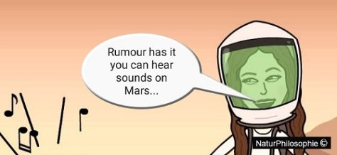 """A cartoon announcement from the Cocktail Party Physicist: """"Rumour has it you can hear sounds on Mars..."""""""