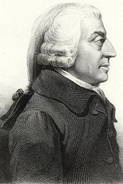 A side portrait of moral philosopher Adam Smith (1723-1790).