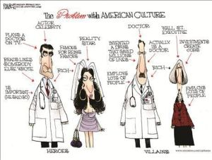 The Problem with American (Western) Culture explained in a cartoon frame. Four individuals. On the left, the Heroes: an Actor/Celebrity (Plays a doctor on TV, Reads lines somebody else wrote, Is important - he said so, Rich) and a Reality TV star (Famous for being famous, Rich). On the right, the Villains: a Doctor (Invented a drug that saved millions of lives, Employs lots of people, Actually is a doctor, Rich) and a Wall Street Executive (Investments create jobs, Employs lots of people, Rich).