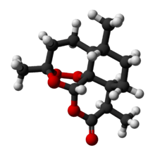 A 3D molecular ball model of Artemisinin. Source: Wikipedia