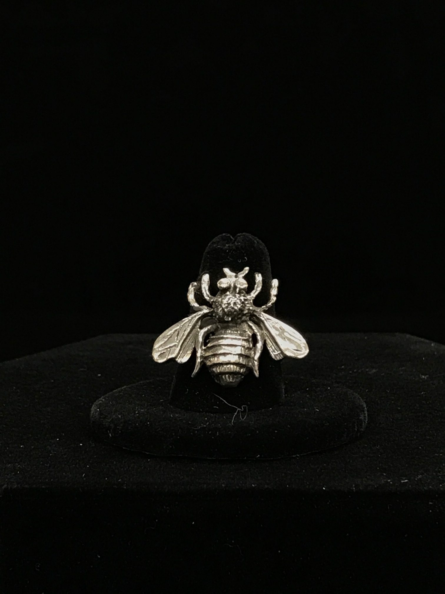 Etched Sterling Silver Bee Adjustable Ring Manchester Bee Ring