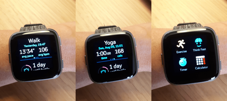 Fitbit Versa activity