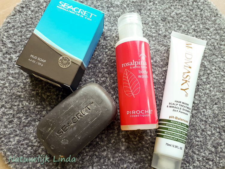 Seacret mudsoap, Rosalpina body wash, mudmasky shampoo