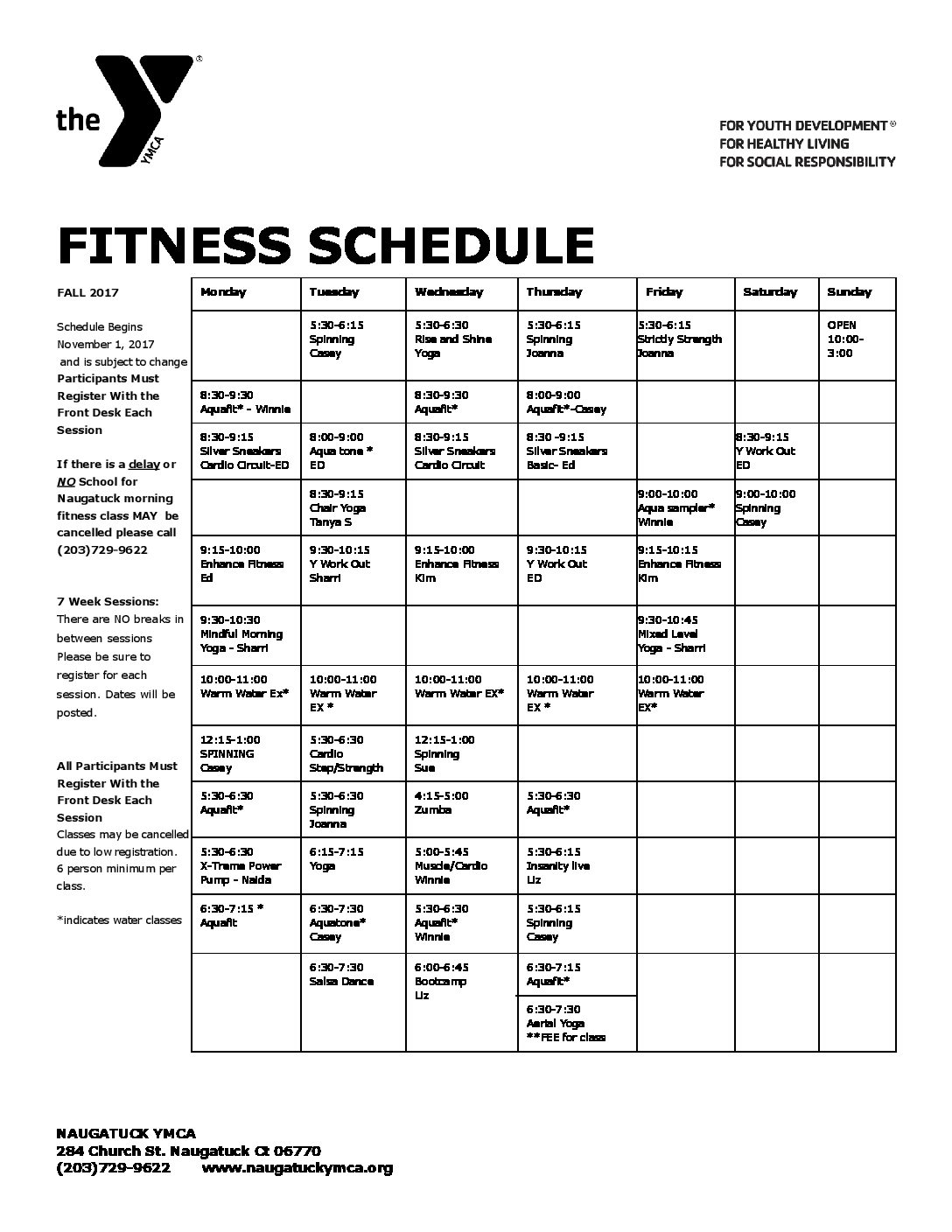 fitness schedule fall 2017