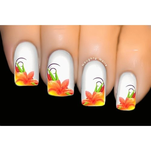Lily Dream French Nail Art Water Tattoo Transfer Decal