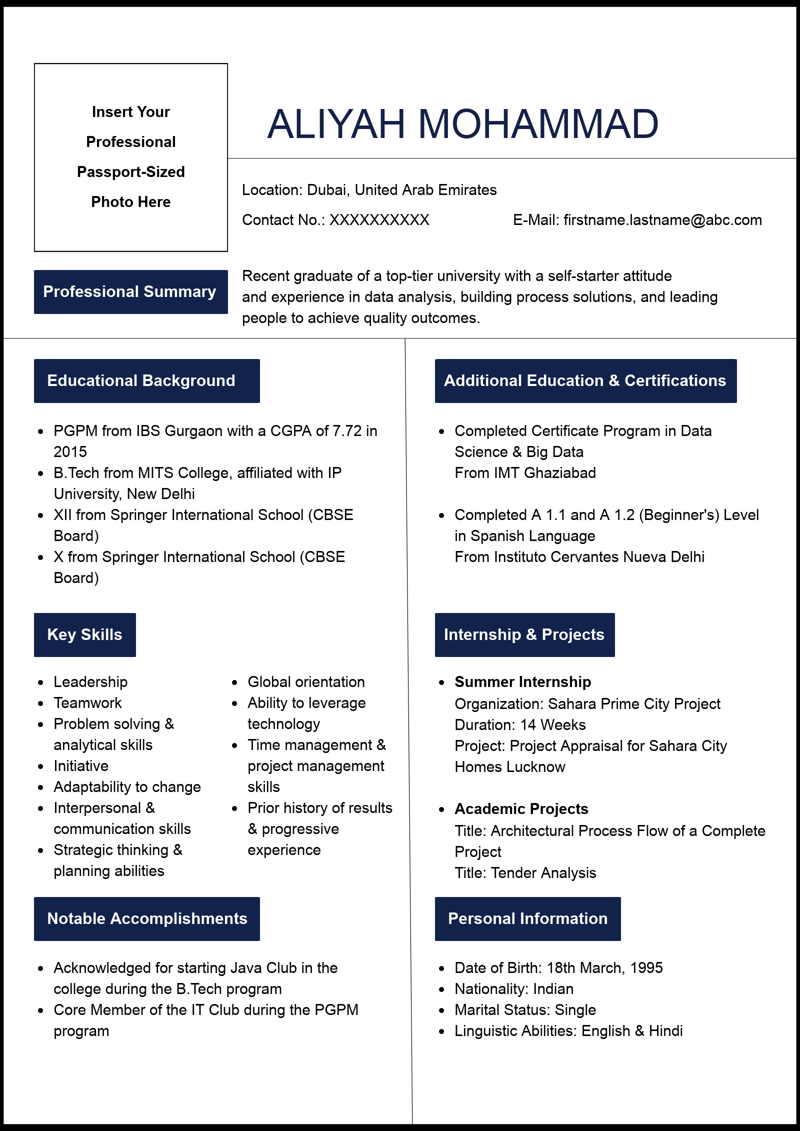 download sample one page engineering college resume