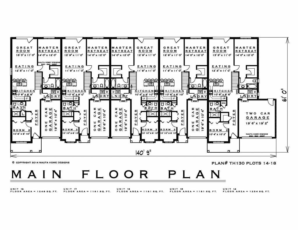 hight resolution of townhouse plans th130 14 18 floor plan
