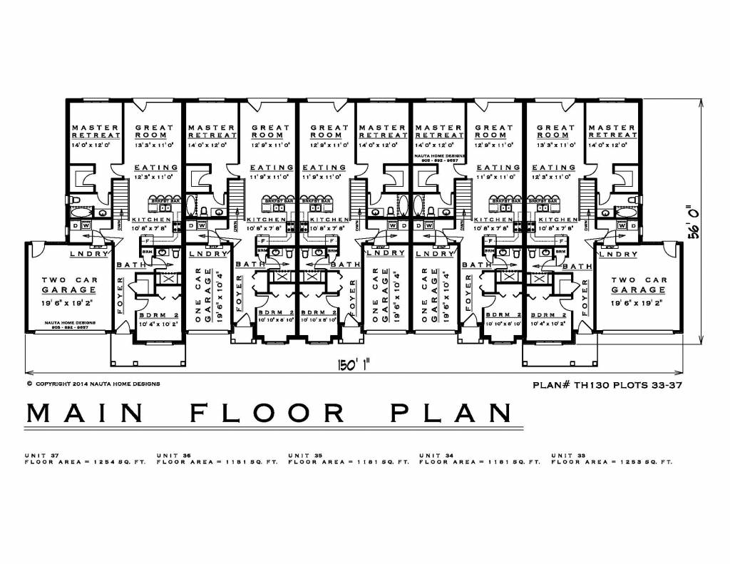 hight resolution of townhouse plans th130 33 37 floor plan