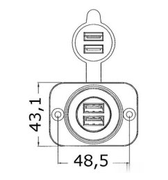 14 516 01 dis lighter plug double usb  [ 1600 x 1600 Pixel ]