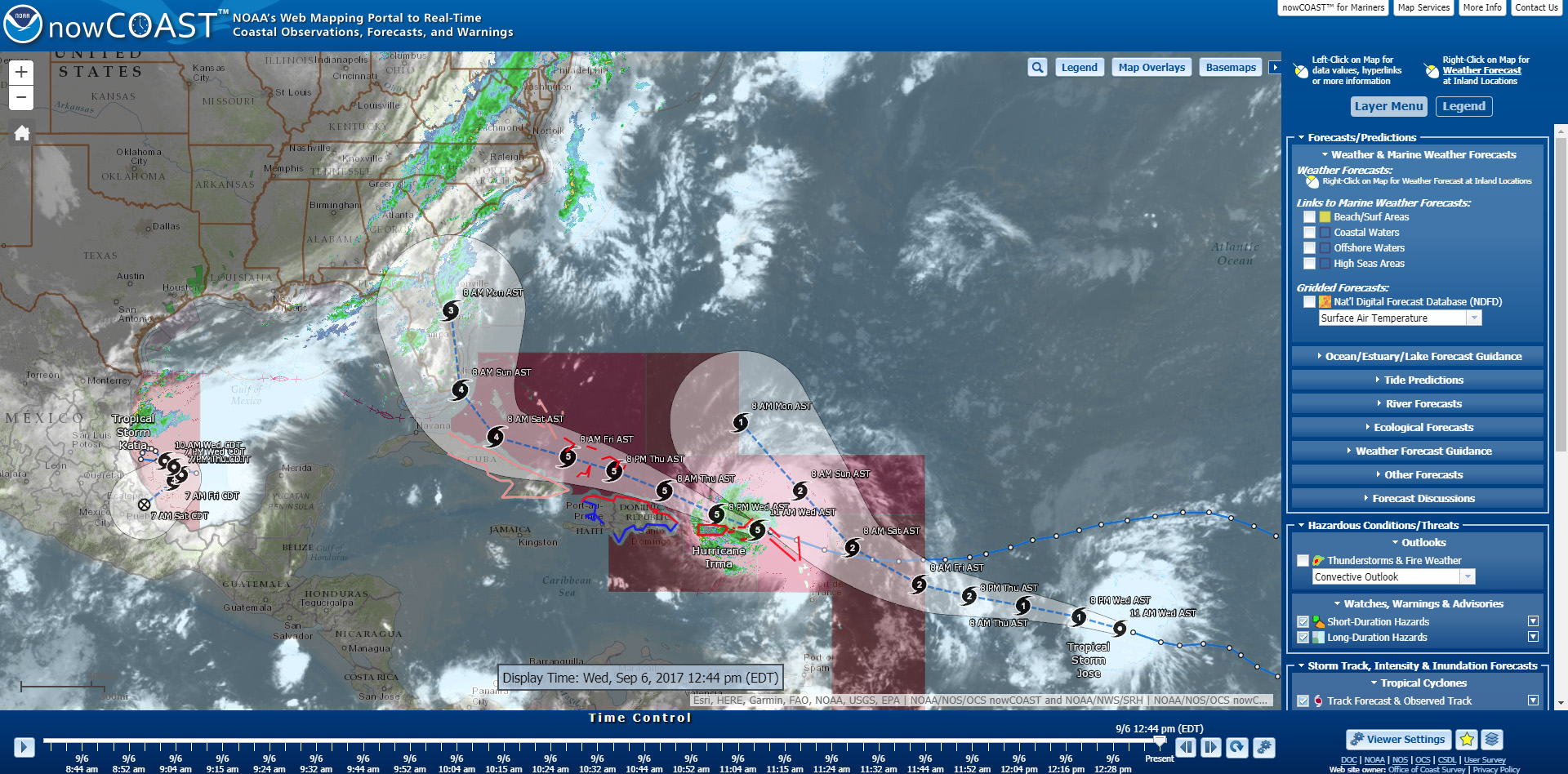 Projected path of Hurricane Irma as seen in nowCOAST™.