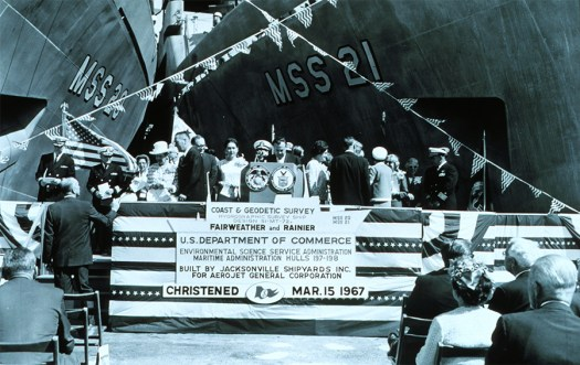 NOAA Ships Fairweather and Rainier were christened in Jacksonville, Florida, in March, 1967.