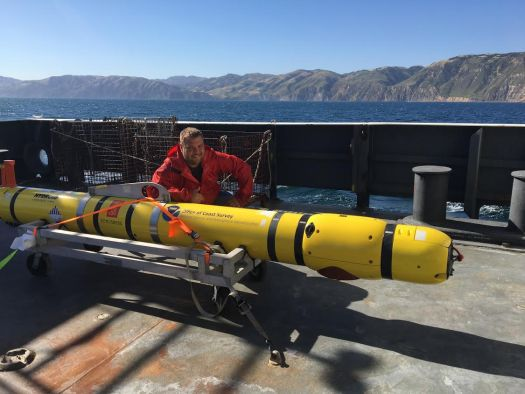 John aboard the NOAA Ship Bell M. Shimada as they perform autonomous underwater vehicle operations near Channel Islands National Marine Sanctuary.