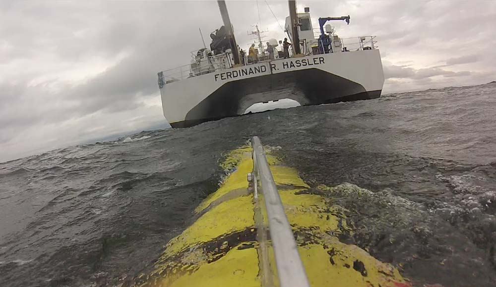 View of NOAA Ship Ferdinand R. Hassler from an autonomous underwater vehicle.