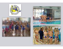 Composición con varias fotos de jugadores de Waterpolo