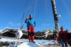 Thomas Coville de retour à La Trinité-sur-Mer