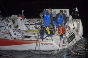 Transat AG2R – LA MONDIALE : Démâtage de Gedimat… La flotte entière sous spi aujourd'hui