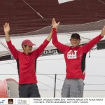IMOCA MACSF, skippers Bertrand de Broc (FRA) and Marc Guillemot (FRA), 6th place in IMOCA category, celebration, during the Transat Jacques Vabre sailing race arrivals on november 13, 2015 in Itajai, Brazil - Photo Jean Marie Liot / DPPI