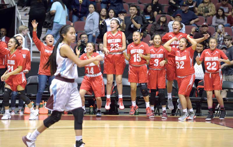 Navajo Times | Donovan Quintero The Page Lady Sand Devils celebrate from the sideline on Friday in Glendale, Ariz.