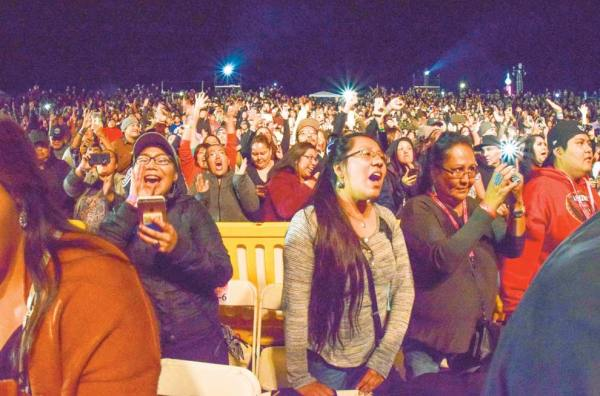 Navajo Times | Krista Allen More than 5,000 people pack the Pepsi Amphitheater to see rapper Nelly in concert during the 50th annual Western Navajo Fair on Saturday night.