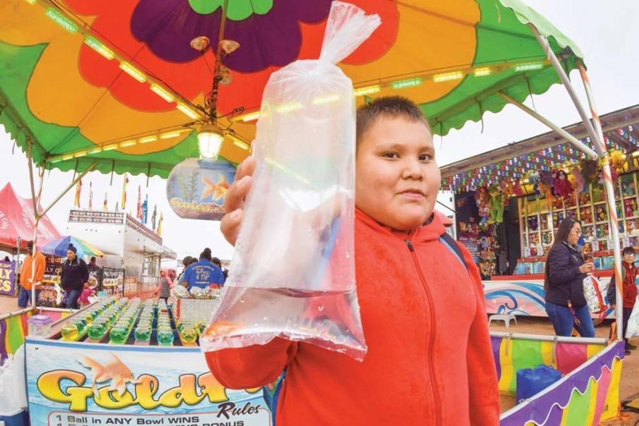 Navajo Times | Krista Allen Levi Black, 11, from Shadow Mountain and Window Rock, shows off the goldfish he won in a game during Kids Day at the 50th annual Western Navajo Fair on Oct. 11.
