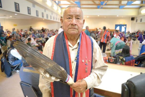 Navajo Times   Donovan Quintero Army veteran David Bowman, who served from 1955-1998, participates in the Veterans Day Gourd Dance in Fort Defiance on Sunday.