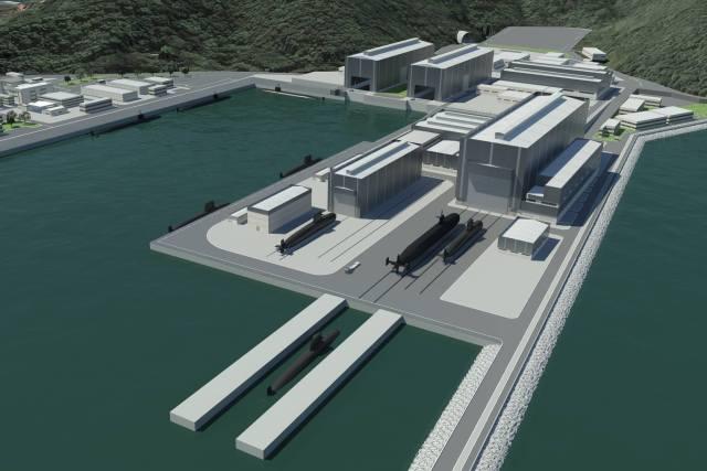 Imagem 3D da nova base naval e estaleiro de submarinos em Itaguaí no Rio de Janeiro