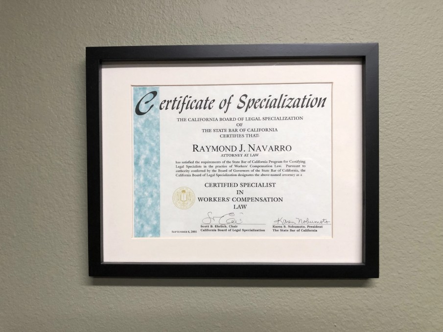 California State-bar Certified workers compensation specialist