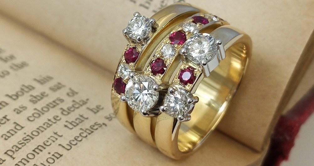 Treninon ring set with rubies and diamonds