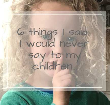 A list of Things I said I would never say to my children