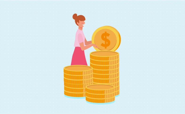 Women collecting coins family budget