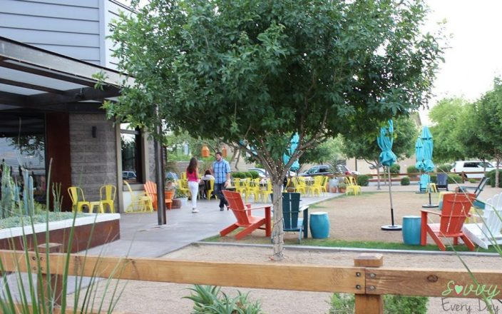 The fun outdoor patio at Joyride