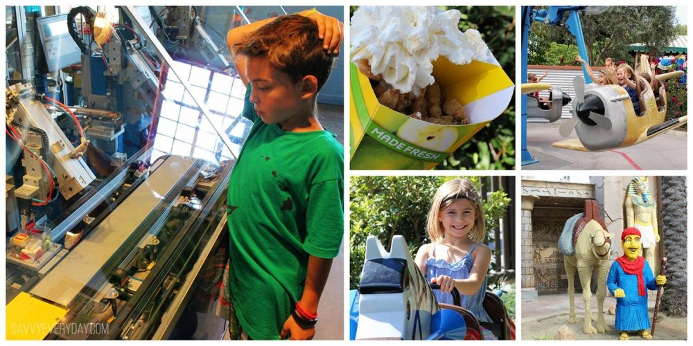 collage of fun rides and food at LEGOLAND