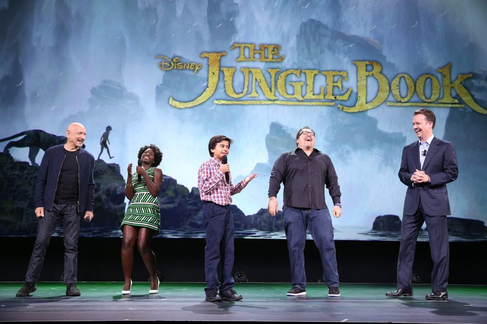 "(L-R) Actors Ben Kingsley, Lupita Nyong'o, Neel Sethi and director Jon Favreau of The Jungle Book and President of Walt Disney Studios Motion Picture Production Sean Bailey took part today in ""Worlds, Galaxies, and Universes: Live Action at The Walt Disney Studios"" presentation at Disney's D23 EXPO 2015 in Anaheim, CA. Photo by Jesse Grant/Getty Images for Disney"