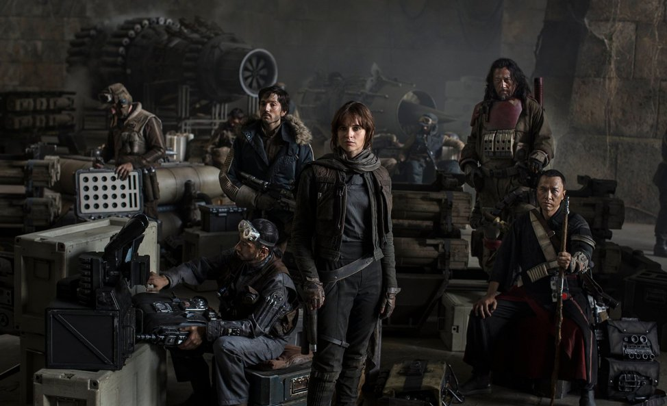 Star Wars: Rogue One Actors (L-R): Riz Ahmed, Diego Luna, Felicity Jones, Jiang Wen and Donnie Yen. Photo Credit: Jonathan Olley/Lucasfilm 2016