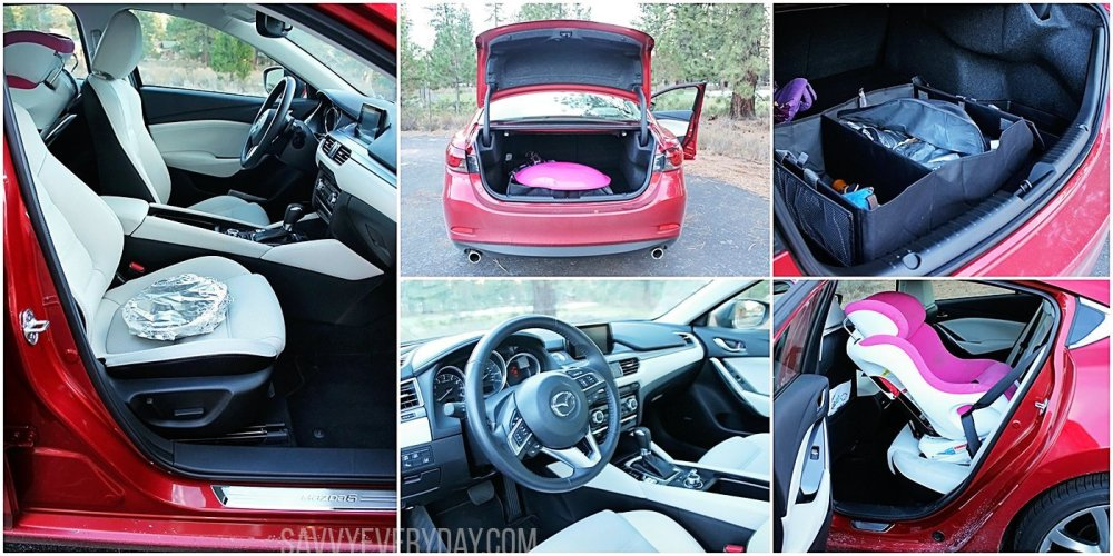 A collage of pictures showing the Mazda6 trunk and interior space