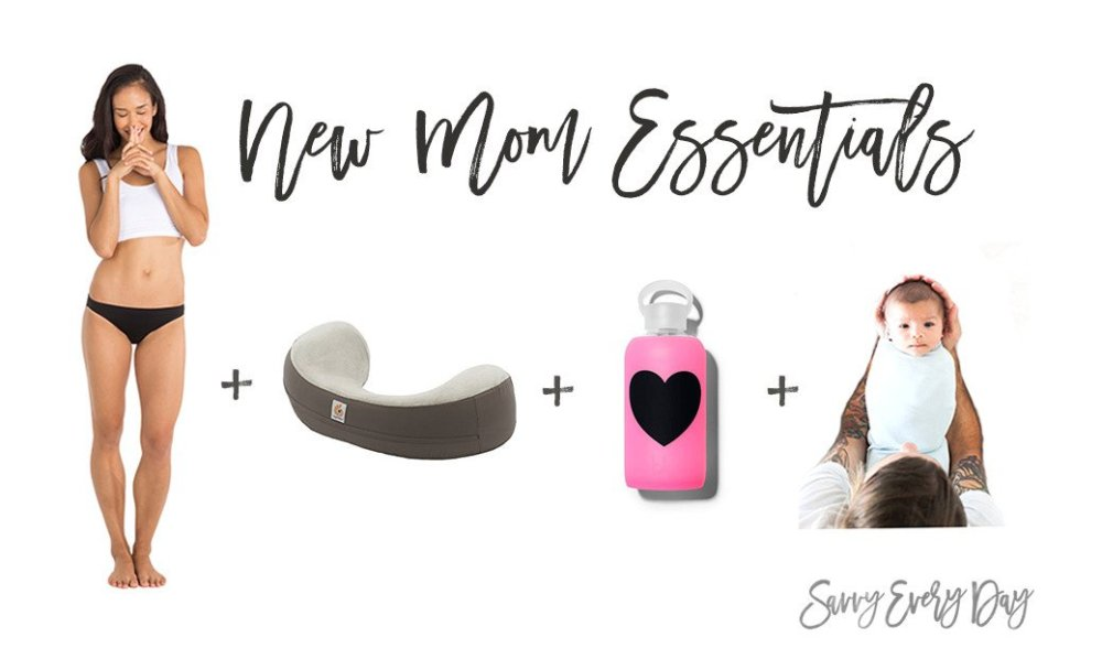 Collage of items new moms need