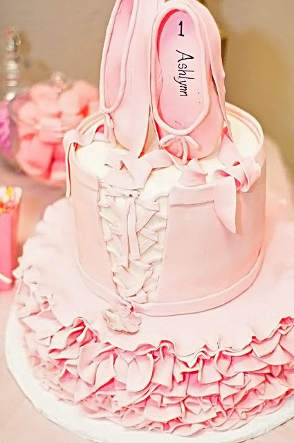 close up of ballet cake